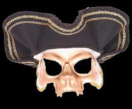 Venetian Pirate Skull Half Mask Hat caribbean ghost costume masquerade h... - €20,71 EUR
