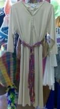 Vintage 70s BLAIR Beige Day Dress w/ Geometric Tribal Scarf Belt boho sz M - $16.44