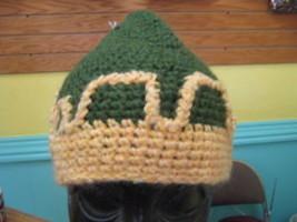 Handmade Knit Skull Cap HAT snow beanie ski winter GRN - $9.74