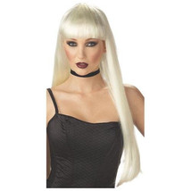 Womens Long Straight Blonde NOUVEAU GLAM WIG Bangs pop star witch alice ... - $19.34