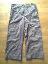 Ally B. Brown & Pink Pin Striped Capri Career Dress Pants Girls 16 Juniors 5 - $8.79