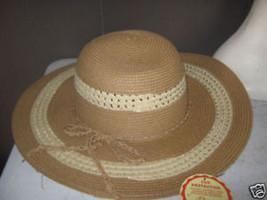 Ladies Natural Two Tone Toyo Braid Floppy Wide Brim Straw Summer Sun HAT... - $18.72