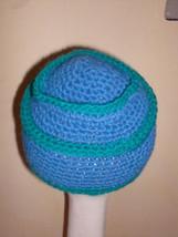 KIDS Blue Green Stripe Knit Beanie HAT ski winter cap handmade - $9.74