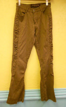 SCANDAL NEW YORK Brown Textured Ruched Sexy Stretch Jeans pants sz 5/6 27X29 - $16.44