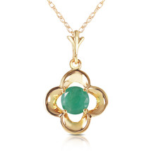 0.55 Ct 14k Solid Yellow Gold Everything Flows Emerald Neckalce - $198.13+
