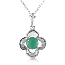 0.55 Ct 14k Solid White Gold Everything Flows Emerald Neckalce - $198.13+
