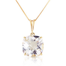 3.6 Carat 14k Solid Yellow Gold Necklace Natural Checkerboard Cut White Topaz - $224.08 - $263.07