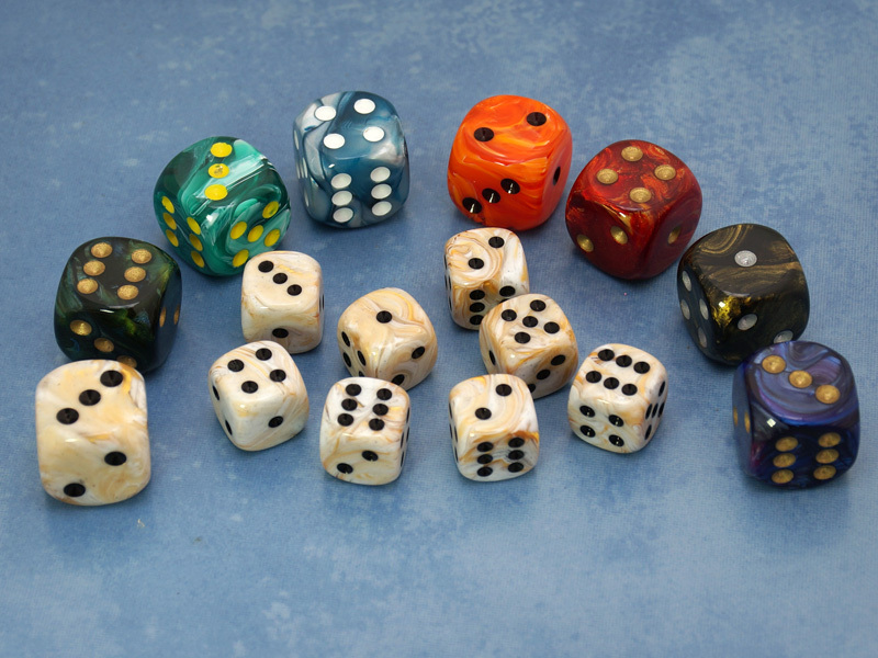 LOW STOCK: Deluxe Dice Set for Deadwood Studios, USA (Assorted colors/sizes)