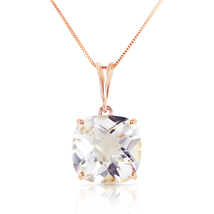3.6 Carat 14k Solid Rose Gold Necklace Natural Checkerboard Cut White Topaz - $224.08 - $263.07