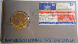 1974 American Revolution Bicentennial First Day Issue Bronze Medal - $7.50