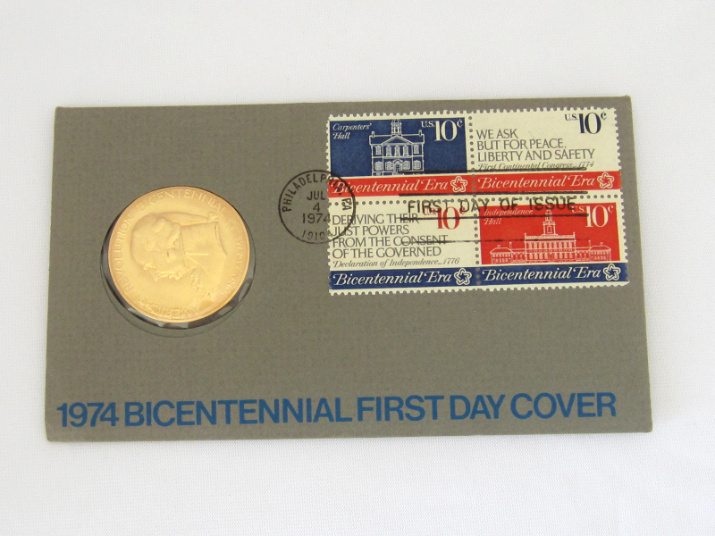 1974 American Revolution Bicentennial First Day Issue Bronze Medal