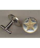 "Bahamas 1 cent ""Star fish"", 2 Toned Gold on Silver Coin Cufflinks - $76.00"
