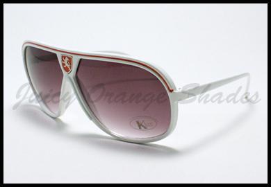 RETRO Flat Top RACING Celebrity Style AVIATOR Sunglasses WHITE