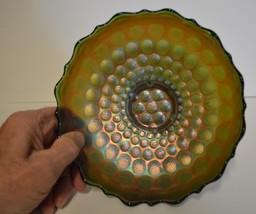 Fenton ~ Stipple Coin Dot ~ Green Carnival Glass Bowl - $21.95