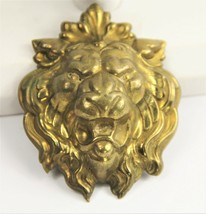 ESTATE VINTAGE VICTORIAN Jewelry LARGE 3D STAMPED METAL FIGURAL LION BRO... - $25.00