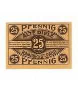 Germany Notgeld Hamburg St.PAULI 25 pfennig 1921 Uncirculated  - $5.00