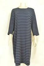 Talbots dress 1X casual t-shirt dress black taupe beige stripe 3/4 sleev... - $29.69