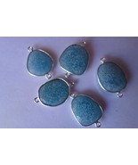 5PCS BLUE CHALCEDONY 18-18X20MM IRREGULAR CONNECTORS SILVER PLATED#AG5414 - $14.24
