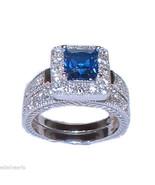 Women's Halo Sapphire Blue Cz Sterling Silver Wedding Ring Set - $49.99