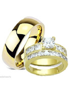 His & Hers Wedding Engagement Ring Set Yellow G... - $39.99
