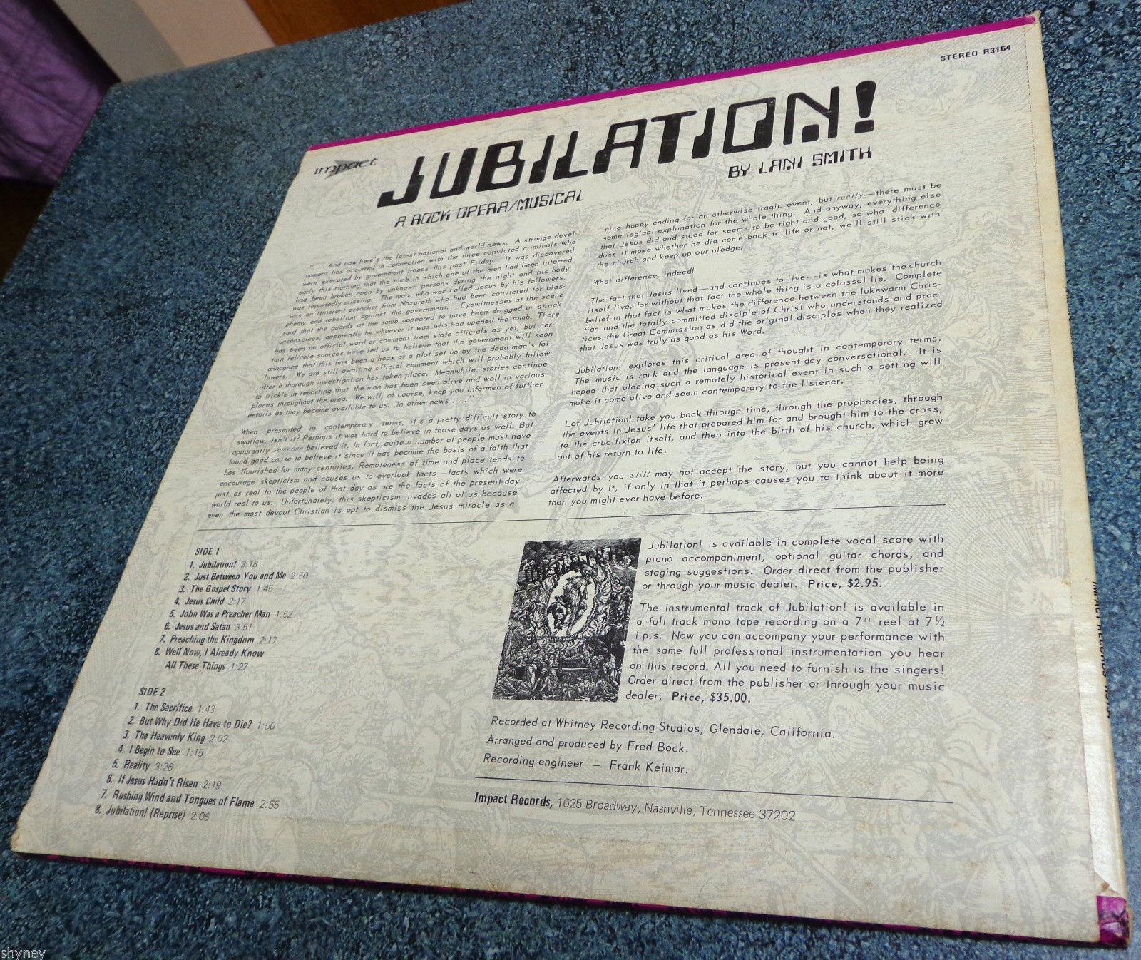 JUBILATION ! : A ROCK OPERA MUSICAL Impact LP LANI SMITH