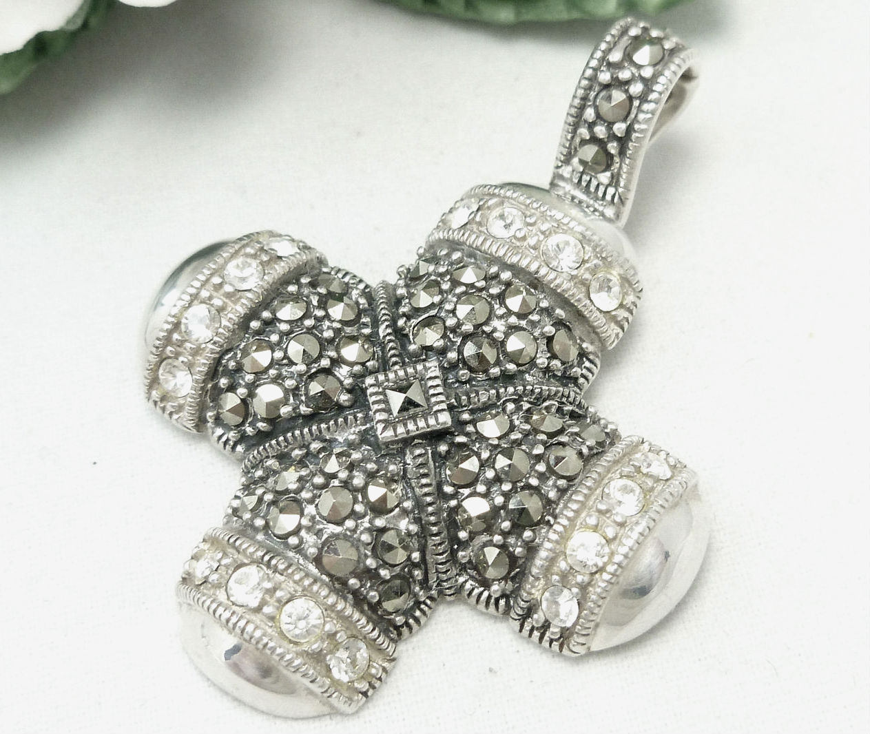 Primary image for Sterling Marcasite and Crystal Cross Enhancer Pendant