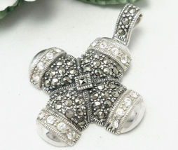Sterling Marcasite and Crystal Cross Enhancer Pendant  - $58.00