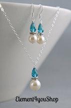 Bridesmaid necklace earrings set, Swarovski ivory pearls, Teal blue crys... - $36.00