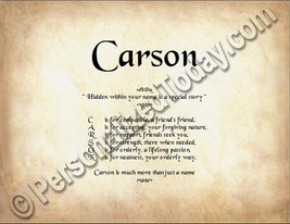 Carson Hidden Within Your Name Is A Special Story Letter Poem 8.5 x 11 P... - $8.95