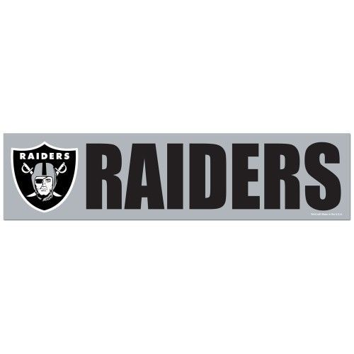 "OAKLAND RAIDERS CAR BUMPER STICKER DECAL 3"" X 12"" STRIP NFL FOOTBALL"