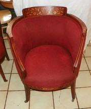 Mahogany Marquetry Inlaid Armchair / Parlor Chair - $599.00