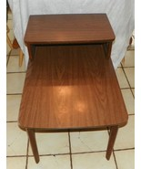 Walnut Mid Century Formica Top Step End Table / Side Table by Mersman - $299.00