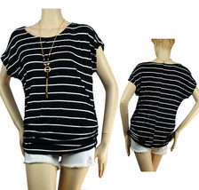 Stitching Sides Scoop Neck Stripe Shirt w/Necklace,Stretch Cute Casual T... - $19.99
