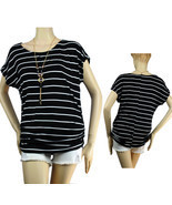 Stitching Sides Scoop Neck Stripe Shirt w/Necklace,Stretch Cute Casual T... - $25.95 CAD