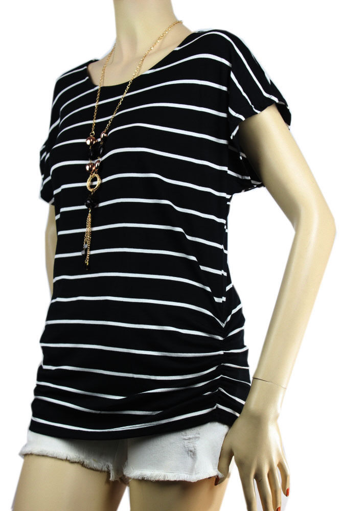 Stitching Sides Scoop Neck Stripe Shirt w/Necklace,Stretch Cute Casual Top Plus
