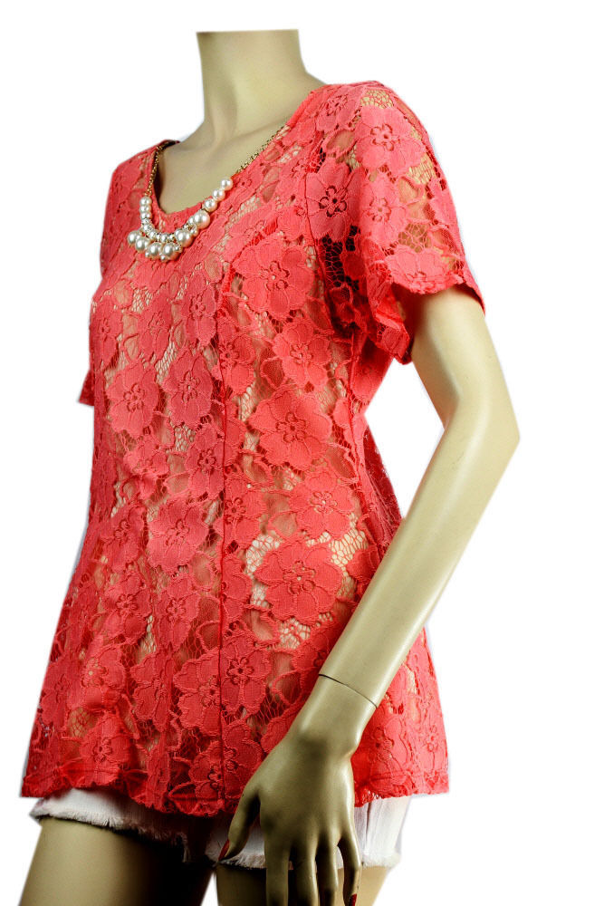 Floral Lace,Lining Scoop Neck Blouse w/Necklace,Chiffon,Stretch Dressy Top Plus