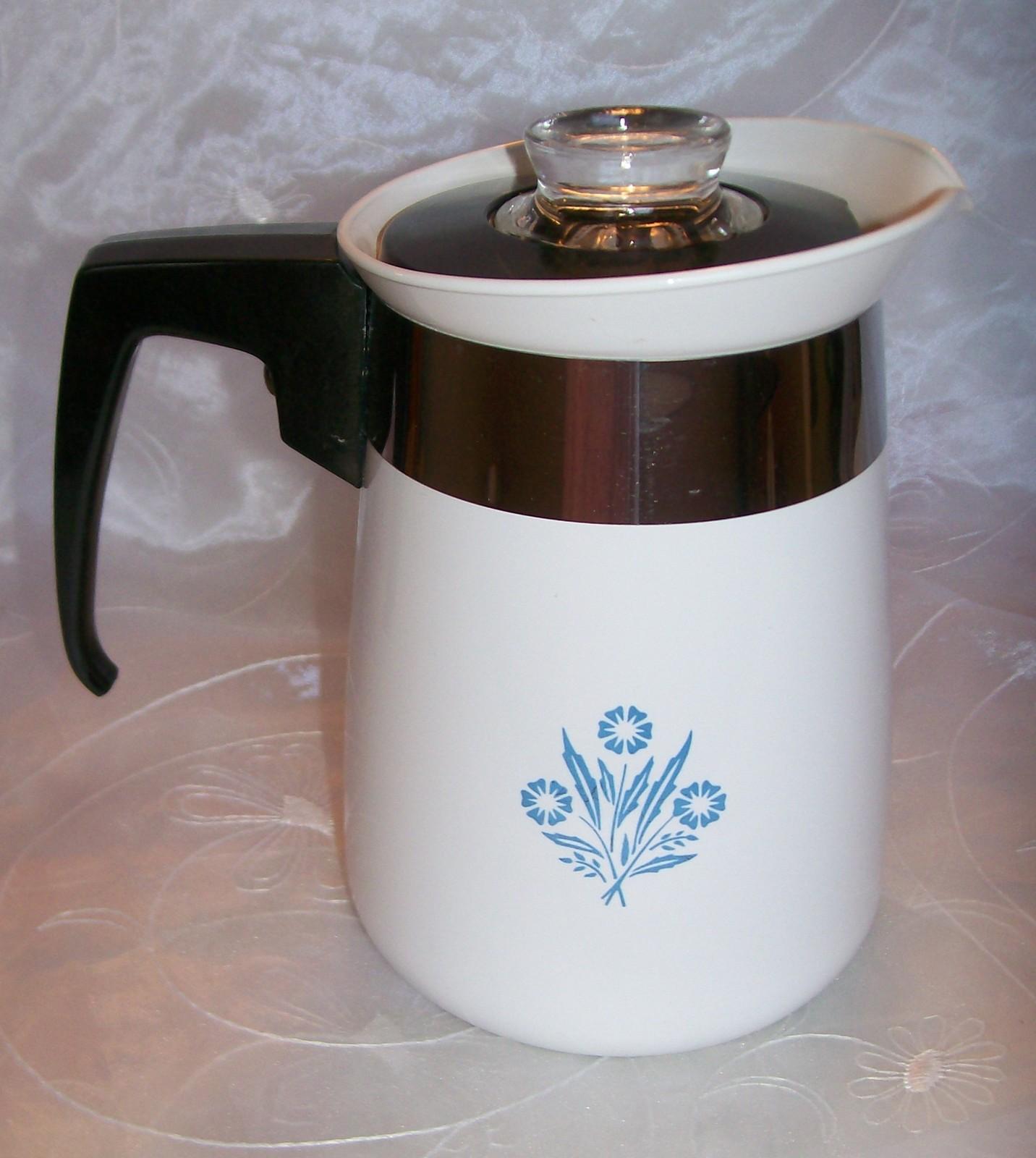 Vintage Corning Blue Cornflower Stove Top 4 Cup Coffee Pot