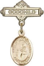 14K Gold Baby Badge with St. John of the Cross Charm Pin 1 X 5/8 inch - $468.56