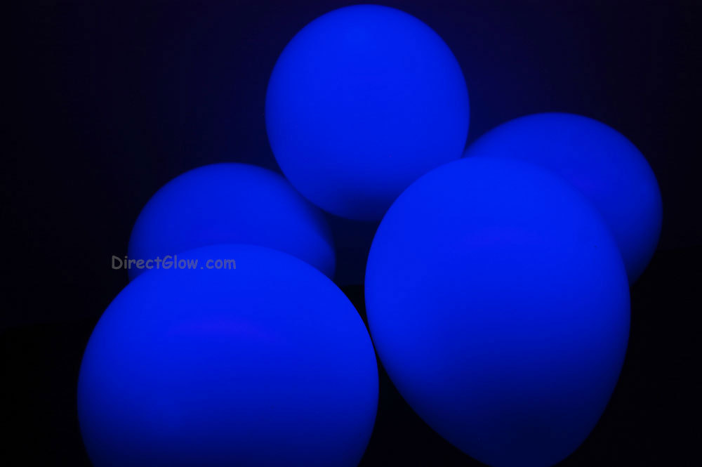 11 inch Blue Blacklight Reactive Latex Balloons- 50 pack