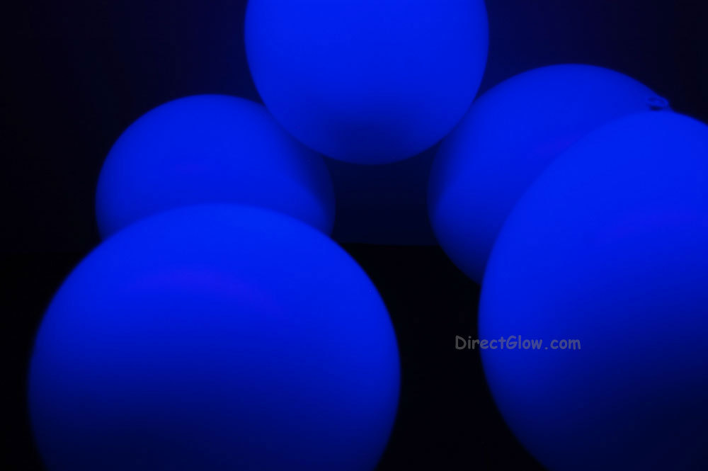 11 inch Blue Blacklight Reactive Latex Balloons- 100 pack