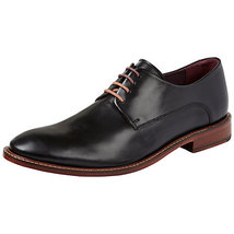 Handmade mens black derby formal leather shoes, men goodyear welted sole... - $159.99