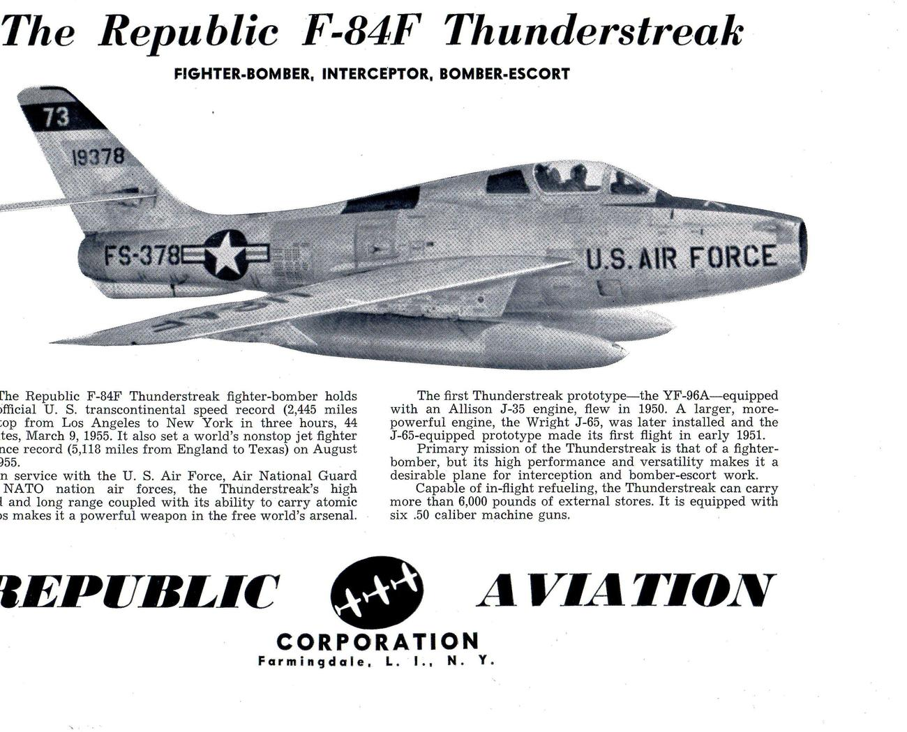 Republic F-84F Thunderstreak- Republic Aviation, Farmingdale, L.I. , N.Y.