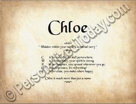 Chloe Hidden Within Your Name Is A Special Story Letter Poem 8.5 x 11 Print - $8.95