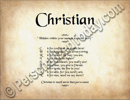 Christian Hidden Within Your Name Is A Special Story Letter Poem 8.5 x 1... - $8.95