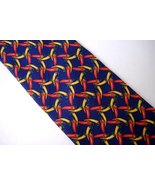 Lands End Hot Chili Peppers Neck Tie 100% Silk Navy Blue Red Yellow Mens... - $13.00