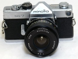 MINOLTA SR-7 VINTAGE SLR 35mm Film Camera Accura 28mm f/2.8 Lens JAPAN - $64.80
