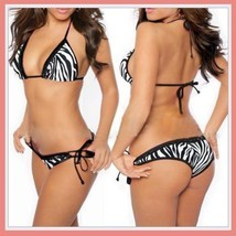 Classic Black and White Zebra Stripe Halter Bra and Bottoms Tie Bikini Swimsuit