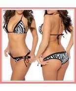 Classic Black and White Zebra Stripe Halter Bra and Bottoms Tie Bikini S... - $33.95