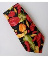 Lands End Chili Peppers Neck Tie 100% Silk Black Red Green Orange Hot Ja... - $20.00