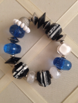Vintage Blue Striped Black White Beaded Chunky Fashion Stretch Bracelet  - ₨1,623.18 INR